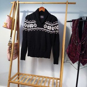 Fair Isle Cotton Black White Cowl Sweater Stripe S